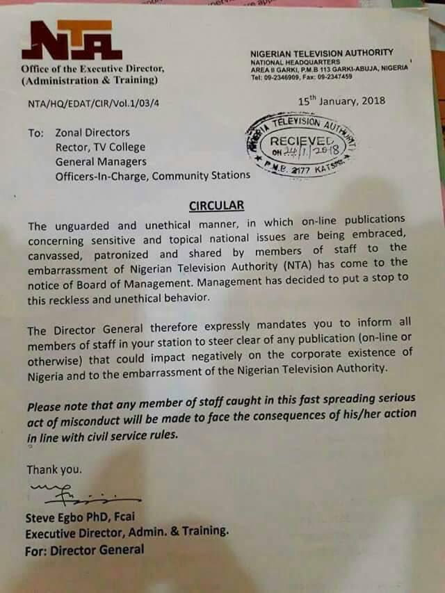 News Flash: Stay Off Social Media, NTA Odererd Staff !